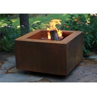 Wholesale Wood Burning Square Metal Fire Pit , Square Garden Fire Pit Simple Design from china suppliers