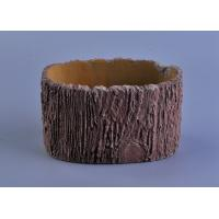 Wholesale 11cm Height Rough Tree Trunk Design Cement Ceramic Candle Holder from china suppliers