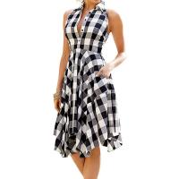 Wholesale Women Plaid V-Neck Sleeve Casual Dress from china suppliers