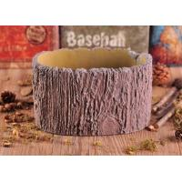 11cm Height Rough Tree Trunk Design Cement Ceramic Candle Holder