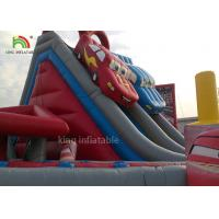 Wholesale Red Car Cartoon Inflatable Dry Slide Double Lanes For Boys / Kids Outdoor Playground from china suppliers