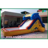 China Ocean Blue Inflatable Bouncer Slide With Pool Shark Theme 0.55mm PVC on sale