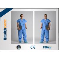 China Children Disposable Scrub Suits Blue/Dark Blue Nonwoven For Cleaning Room on sale