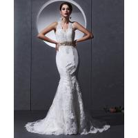 Wholesale Lace Deep V open back Halter Neck Wedding Dresses mermaid Slim Wedding Gowns from china suppliers