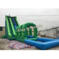 China Attractive Commercial Outdoor Giant Long Green Blow Up Water Slides For Adult on sale