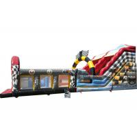 Quality Race Car Theme Large Inflatable Slide For Kids And Adult With Obstacle Part for sale