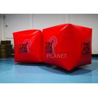 China Red PVC Tarpaulin 1.5M Cube/Square Shape Inflatable Water Floating Buoy With Logo on sale