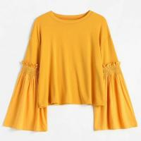 Wholesale Plus Size Women Clothing Long Ruffles Flare Sleeve T Shirt from china suppliers