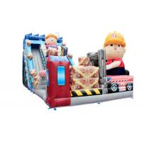 Wholesale Worker Theme Large Inflatable Slide With Jumping Tarmpoline Fire Retardant from china suppliers