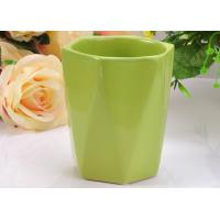 Wholesale Glazed Ceramic Hexagon green candle holders , Comfortable to Use from china suppliers