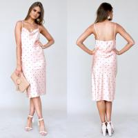 Wholesale Women cowl neck polka dot peach color midi dress with adjustable straps from china suppliers