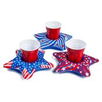Wholesale PVC Patriotic Star Cupholder Floats Inflatable Drink Holder Red / White / Blue from china suppliers
