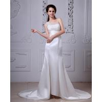 Quality Lace Flower Satin One Shoulder Wedding Gowns with Long Train for Girls for sale