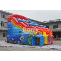 China Dual Lanes Seaworld Theme Inflatable Water Slides Waterproof For Inground Pool on sale