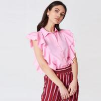 Wholesale Lady Clothing Pink Frill Women Shirt from china suppliers
