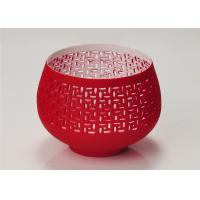 Wholesale Red Votive Porcelain Candle Holder Bowl / Hollow Ceramic Candle Houses from china suppliers