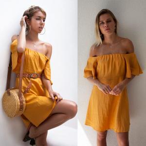 Wholesale Summer women off shoulder golden dress from china suppliers