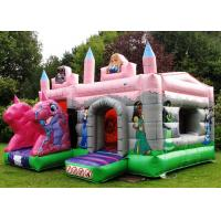 PVC Pink Dragon Cartoon Princess Combo Inflatable Bounce House With Roof Kids Play