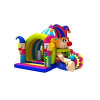 China Lovely Circus Clown Kids Inflatable Bounce House With Slide / Blow Up Jumpers on sale