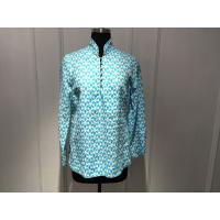 Wholesale Silk Printed Loose Womens Tops Blouses Stand Collar With Special Buttons from china suppliers