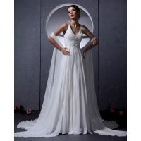 Wholesale Customized Elegant Chiffon open back bra Wedding Dresses with cape , white from china suppliers
