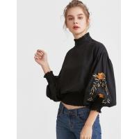 Quality 2017 Fashionable black embroidered blouses for women for sale