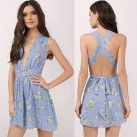 Wholesale Blue Deep V Sex Mini Dress for Women from china suppliers
