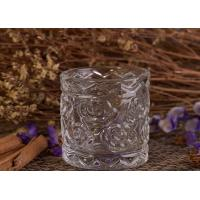 Wholesale Flower Debossed Votive decorative glass candle holder OEM / ODM Machine Made from china suppliers