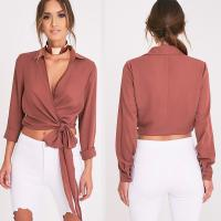 Wholesale Latest Fashion Ladies Wrap Blouse With Tie from china suppliers