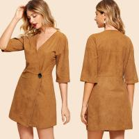 Wholesale Fashion Clothing For Women 2018 Suede Button Front Wrap Dress from china suppliers