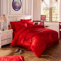 Wholesale Red Bridal Polyester Bed Sheet Cover Sets With Embroidery Flower Queen Size from china suppliers