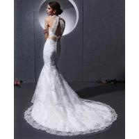 Quality Lace Deep V open back Halter Neck Wedding Dresses mermaid Slim Wedding Gowns for sale