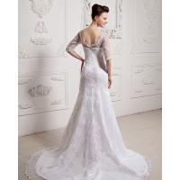 Quality Girls Long Sleeve Big V Neck Wedding Dresses Appliques with cathedral train for sale