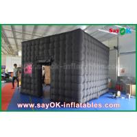 China 2 Doors Black Inflatable Photo Booth Waterproof With Led Strip For Advertising on sale