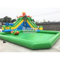 Green Castle Theme Waterproof Inflatable Pool With Octopus Slide On Ground