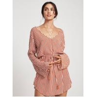 Quality Summer Wholesale Design Striped Long Sleeve Casual Woman Dress for sale