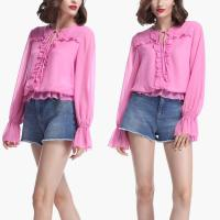 Wholesale Women Fashionable Long Sleeve Pink Blouse With Ruffles from china suppliers