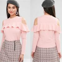 Wholesale Cheap Wholesale Ruffle Clothing Long Sleeve Cold Shoulder T Shirt Tops from china suppliers