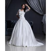 Wholesale Luxurious Lace Long Sleeved V Neck chiffon Wedding gowns with long trains from china suppliers