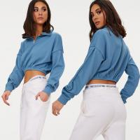 Wholesale Zip front crop sweater long sleeves blue from china suppliers
