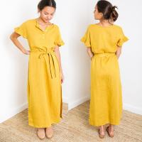 Wholesale Paloma Mustard Short Sleeve Button Down Slit Maxi Linen Dress from china suppliers