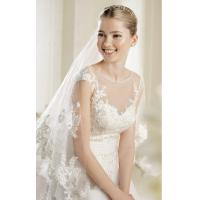 Quality Long trail Lace See Through V Neck Wedding Dresses Satin Wedding Gowns for sale