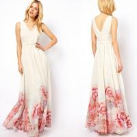 Wholesale Elegant V Neck Sleeveless Floral Printed Maxi Bohemian Woman Dress from china suppliers