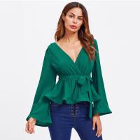 Wholesale Bell Sleeve Wrap Blouse with Deep V Neck from china suppliers