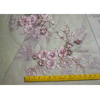 Wholesale Embroidered 55 Inch Peach Color 3D Floral Rose Lace Fabric With Beads And Sequins from china suppliers