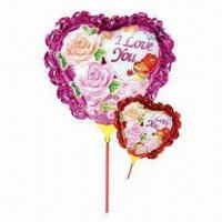 Wholesale 14-inch Heart-shaped Balloon w/ Bowknot/Cup Stick, Made of Nylon Aluminum/PE, Two Colors Available from china suppliers