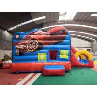 China Red Racing Cars Kids Inflatable Bounce House With Slide / Jumping Blow Up Castle on sale