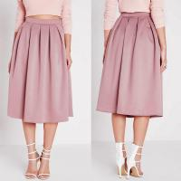 Quality High waist pleated pink 3/4 umbrella skirt for sale