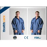 China Dark Blue Disposable Chemical Protective Coverall SMS Clothing With Hood And Elastic Wrist on sale