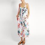 2018 New Style Women White-Print Button-Down Simple Cheap Linen Midi Dress